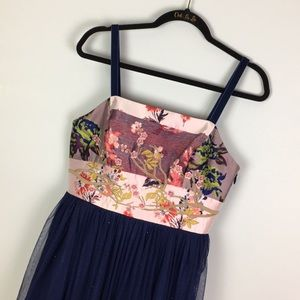 Anthropologie dress embroidered tulle sparkle